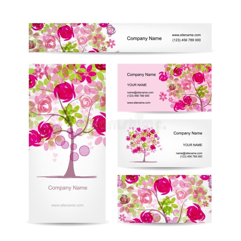 Affärskortdesign, rosa blom- stil stock illustrationer