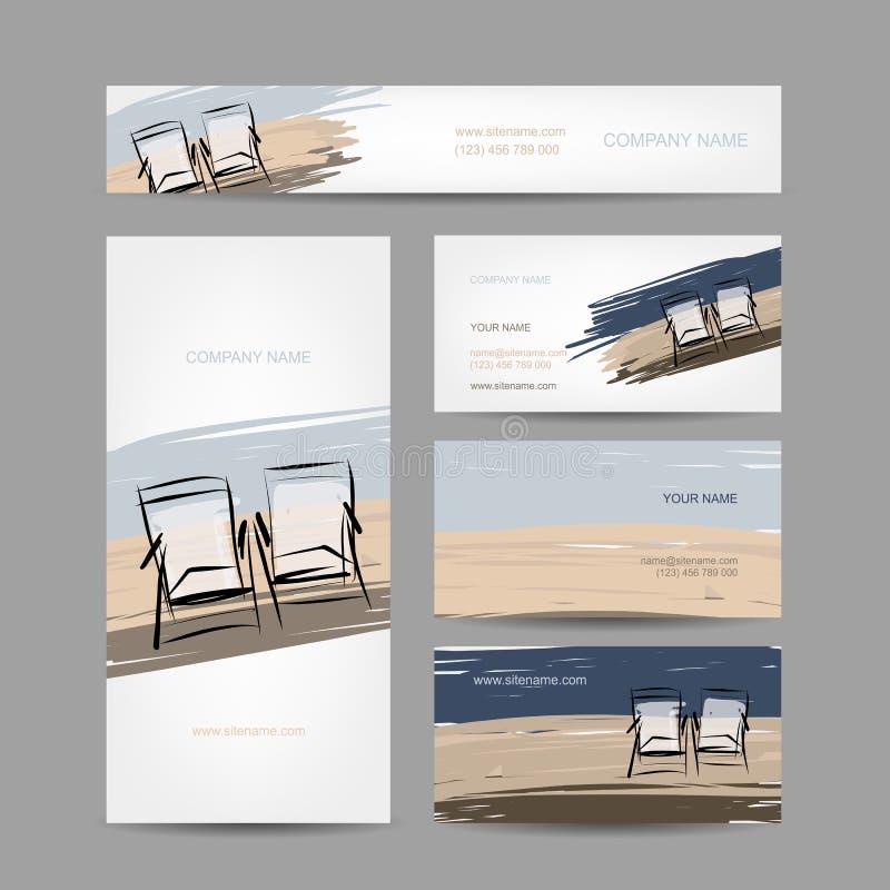 Affärskortdesign, stolar på stranden stock illustrationer