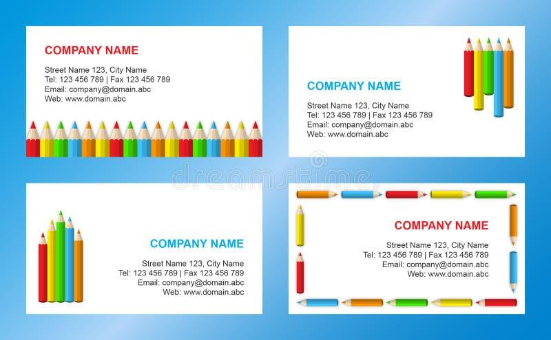 affärskortet crayons mallen vektor illustrationer