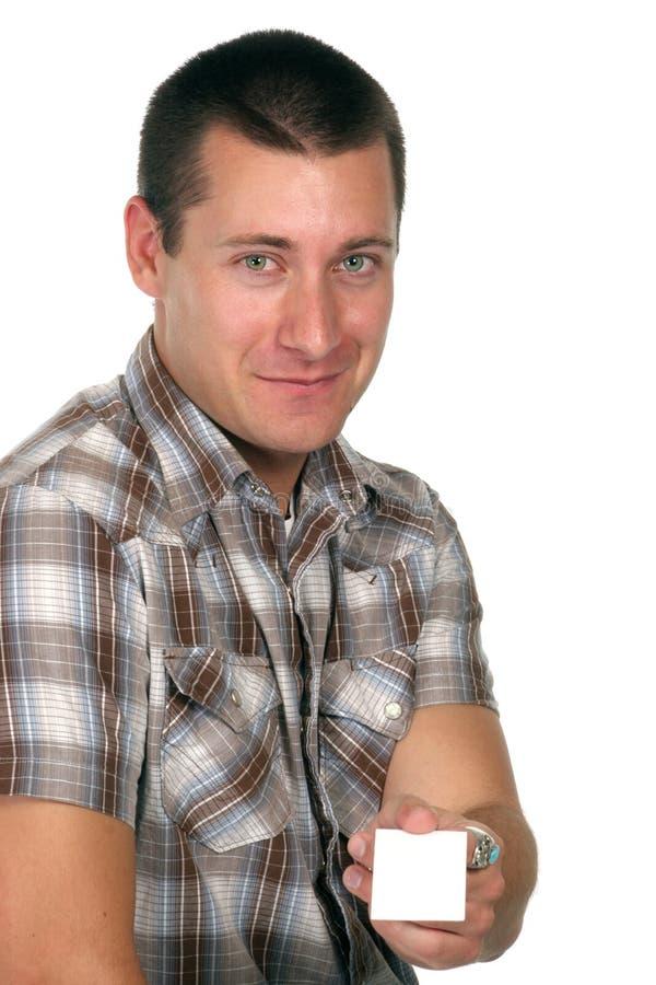 affärskortet hands hans arbetare dig arkivfoto