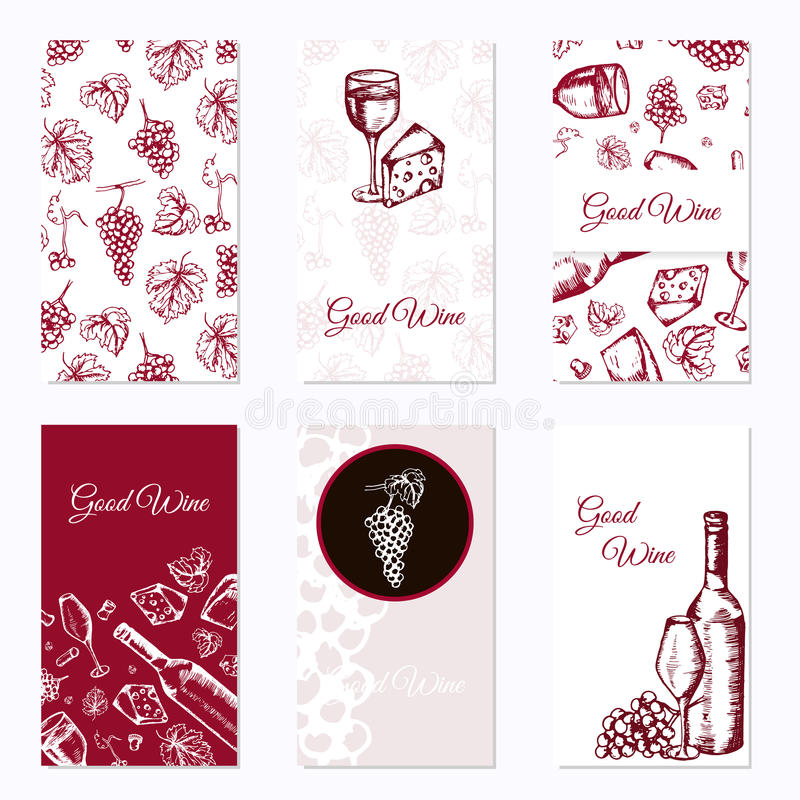 affärskortset sex Vinföretag Restaurangtema också vektor för coreldrawillustration royaltyfri illustrationer