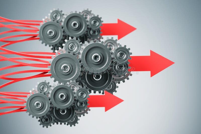 Affärskugghjul till framgångbegreppet stock illustrationer