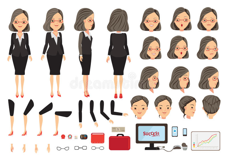 Affärskvinna royaltyfri illustrationer