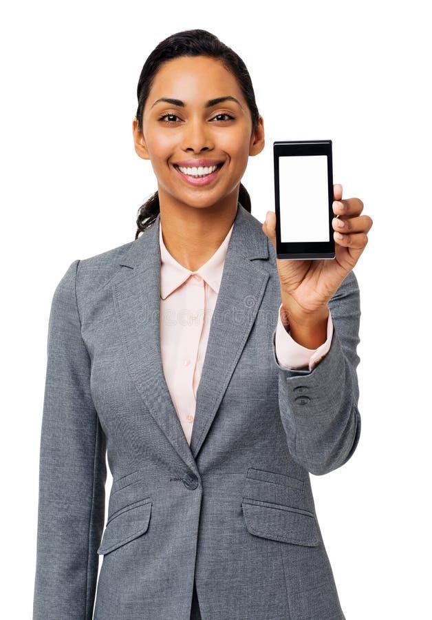 Affärskvinna Advertising Smart Phone royaltyfria bilder