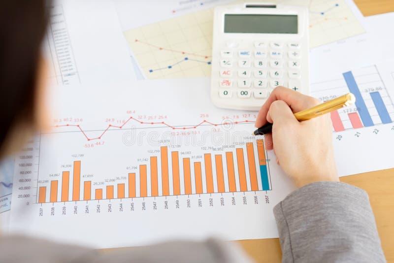 Affärskvinna Analyzing Financial Report med Calcul arkivbild