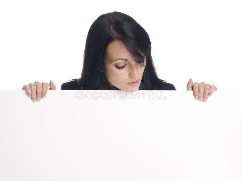 Affärskvinna - blankt tecken royaltyfri fotografi