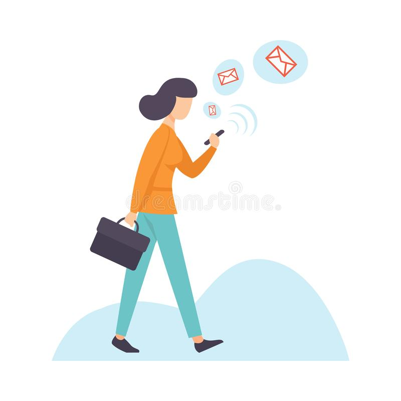 Affärskvinna Chatting Using Smartphone, kvinna som meddelar via internet med mobila enheten, social knyta kontakt vektor stock illustrationer