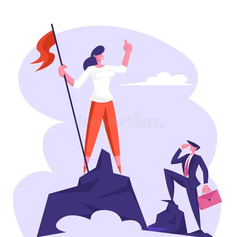 Affärskvinna Climbed till överkanten av berget som tycker om seger Anställd hissad flagga som vaggar maximumet, framgång, konkurr royaltyfri illustrationer