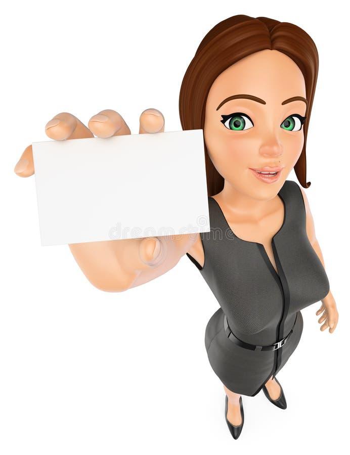 affärskvinna 3D med ett tomt kort royaltyfri illustrationer