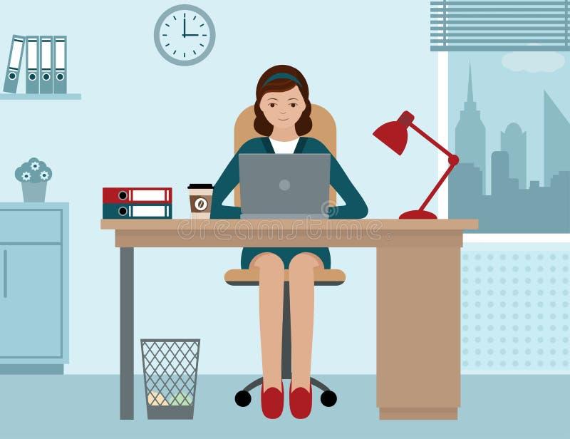 Affärskvinna eller en kontorist som arbetar på hennes kontorsskrivbord royaltyfri illustrationer