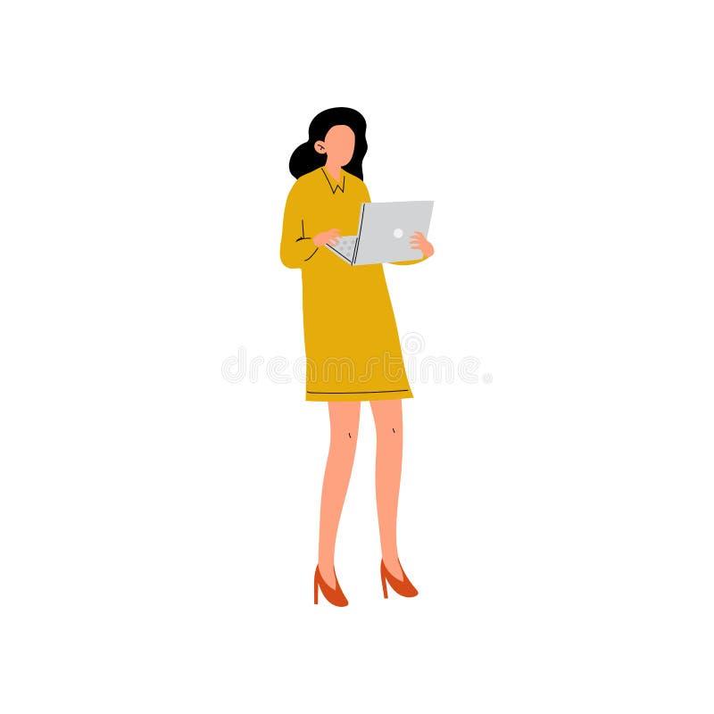 Affärskvinna eller kontorsarbetare som står med bärbara datorn, ung kvinna som i regeringsställning arbetar vektorillustrationen royaltyfri illustrationer