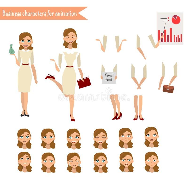 Affärskvinna för animering stock illustrationer