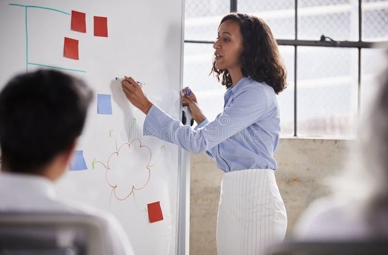Affärskvinna för blandat lopp som använder whiteboard på en presentation royaltyfri fotografi
