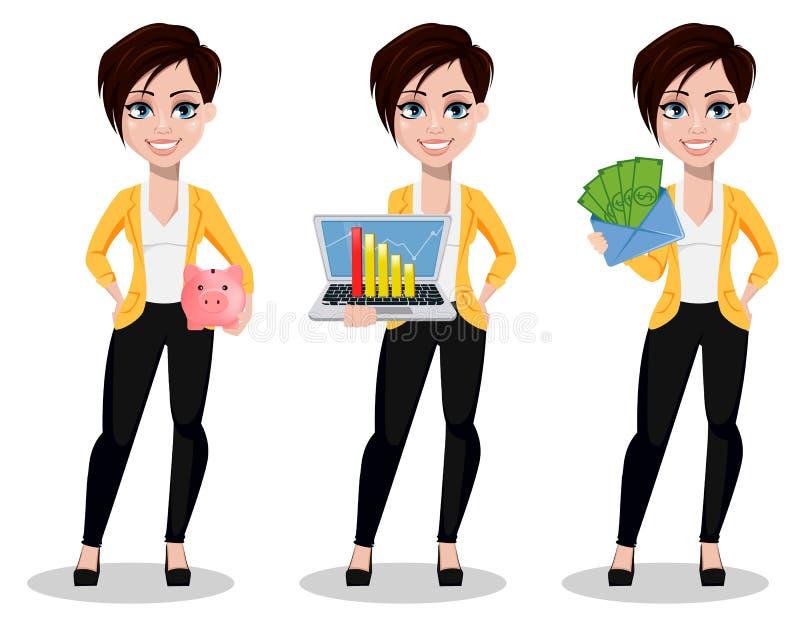 Affärskvinna, freelancer, bankir Härlig dam i tillfällig kläder stock illustrationer