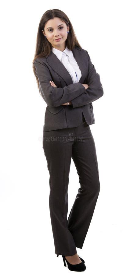 Affärskvinna - full huvuddel arkivfoto