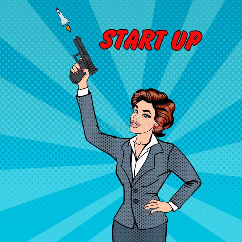 Affärskvinna Gives en start till det nya projektet 2 business woman stock illustrationer