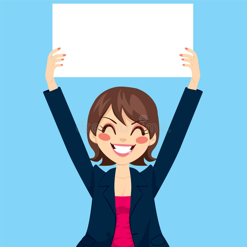Affärskvinna Holding White Board stock illustrationer