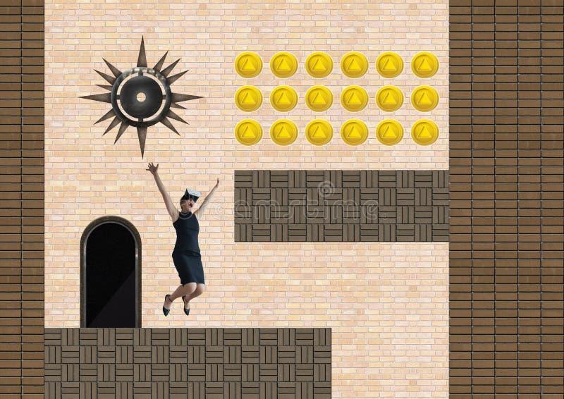 Affärskvinna i dataspelnivå med mynt och fälla royaltyfri illustrationer