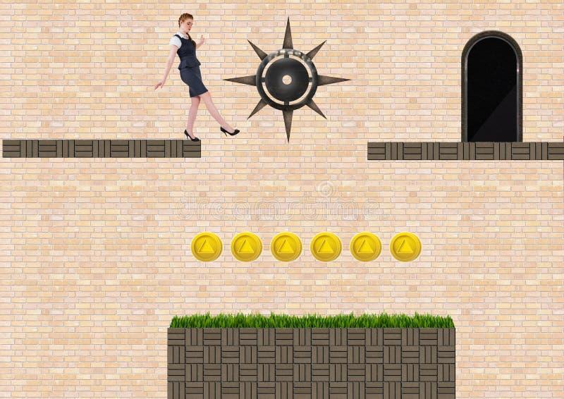 Affärskvinna i dataspelnivå med mynt och fällor vektor illustrationer