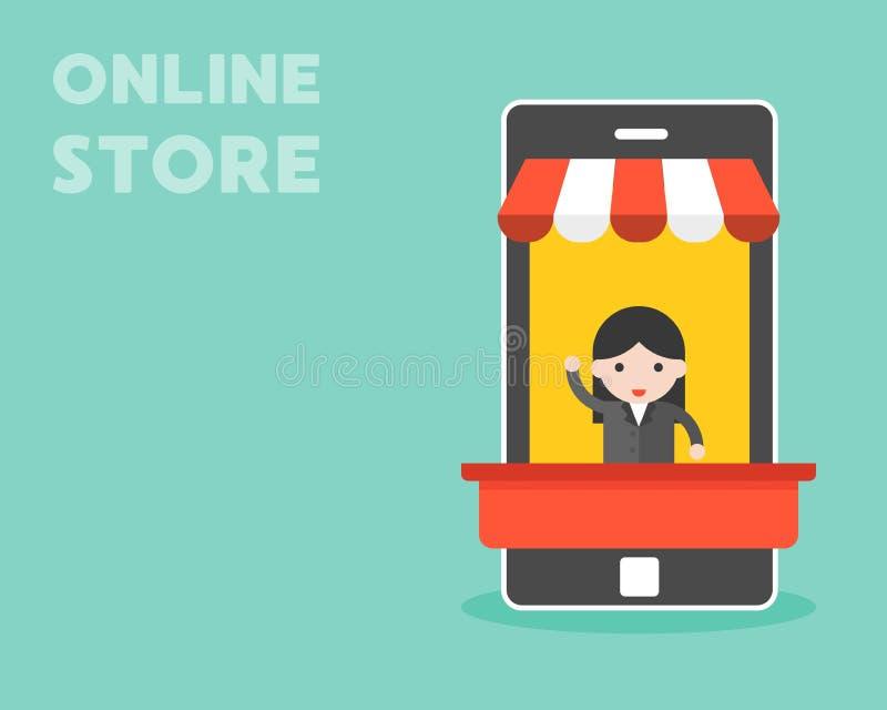 Affärskvinna i den mobila stallen, online-lagerbegrepp royaltyfri illustrationer