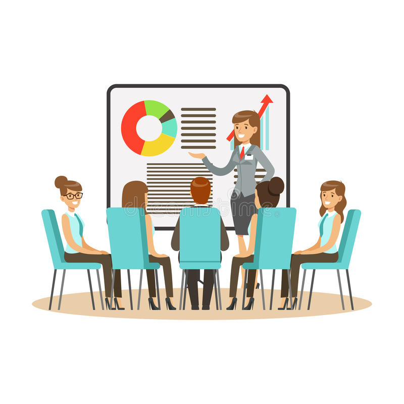 Affärskvinna i dräktdanandepresentation och förklaringsdiagram på en whiteboard, affärsmöte i en kontorsvektor vektor illustrationer
