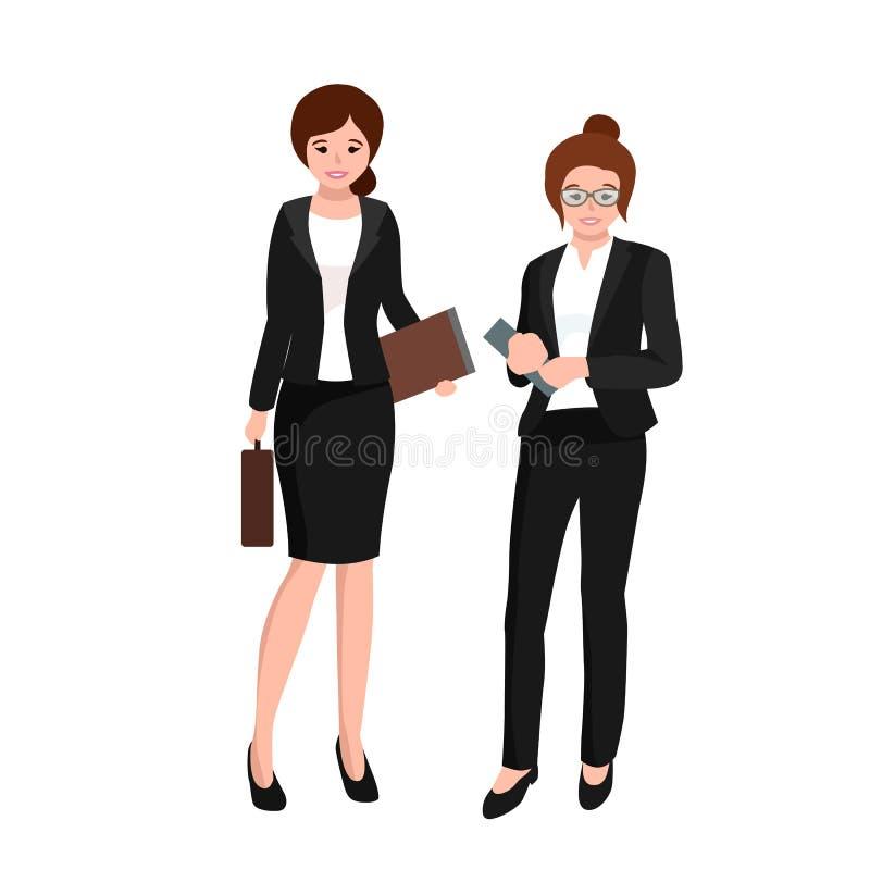 Affärskvinna i dräkten, mappar och fallet, lag för kontorsarbetare stock illustrationer