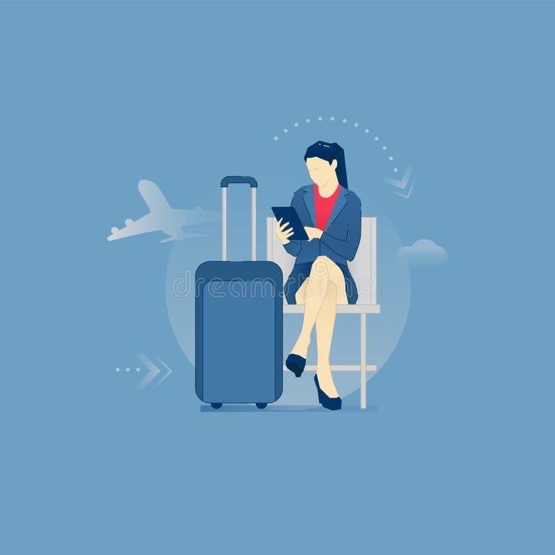 Affärskvinna i en flygplatsvardagsrum royaltyfri illustrationer