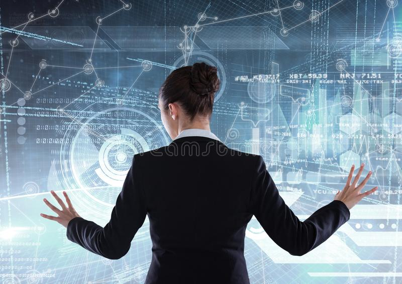Affärskvinna i en futuristisk rummanöverenhet stock illustrationer
