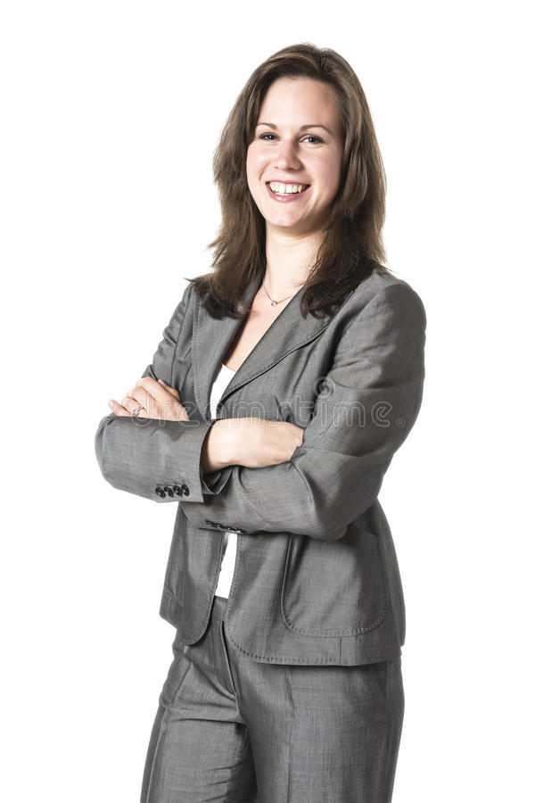 Affärskvinna i grå färgdräkt royaltyfri foto