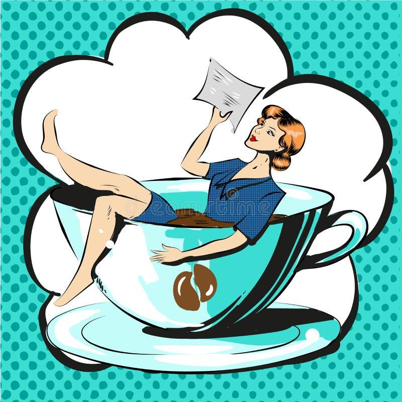 Affärskvinna i komiker för konst för pop för kopp kaffeläsningdokument royaltyfri illustrationer