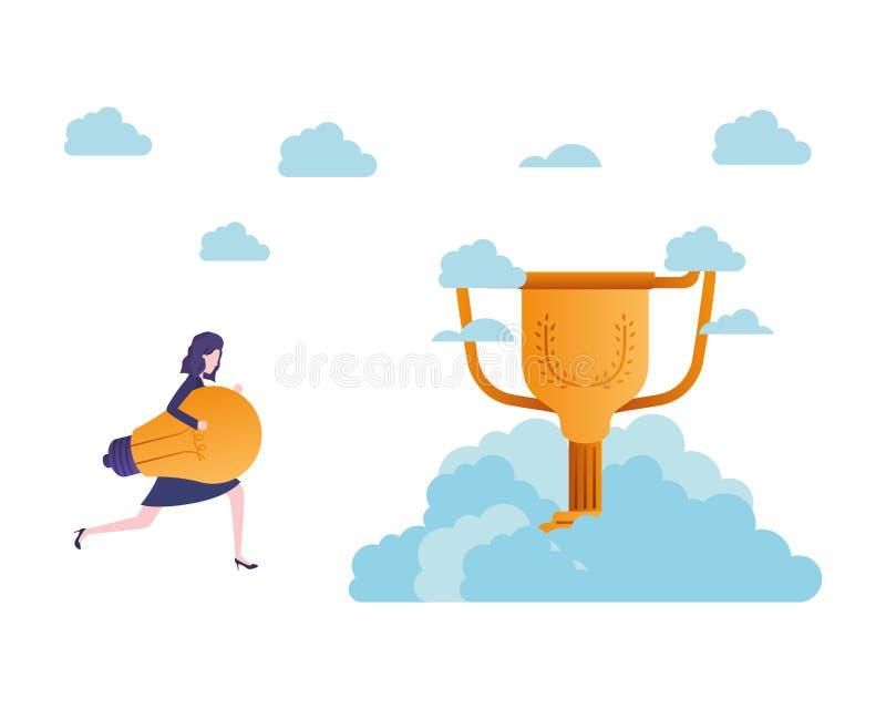 Aff?rskvinna i molnen med trof?avatarteckenet royaltyfri illustrationer