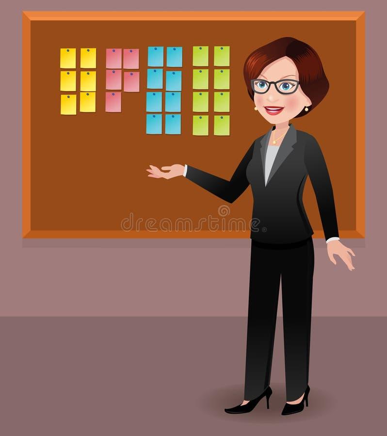Affärskvinna i regeringsställning som visar klibbiga anmärkningar royaltyfri illustrationer