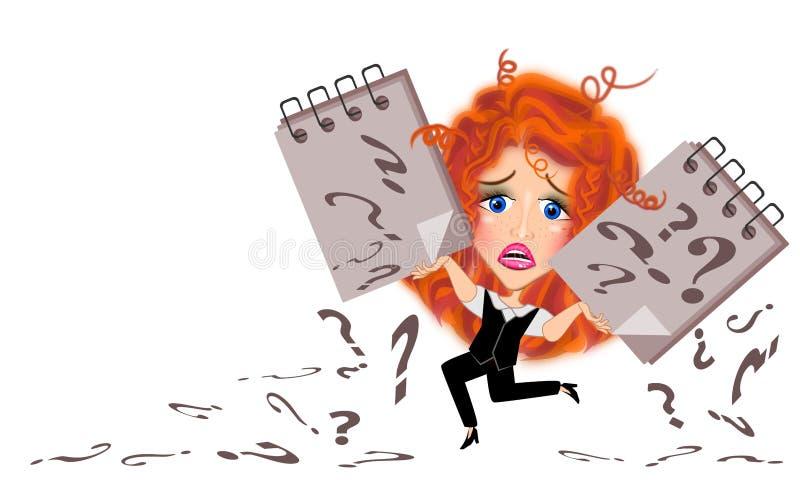 Affärskvinna i smutsiga hårillustrationer stock illustrationer
