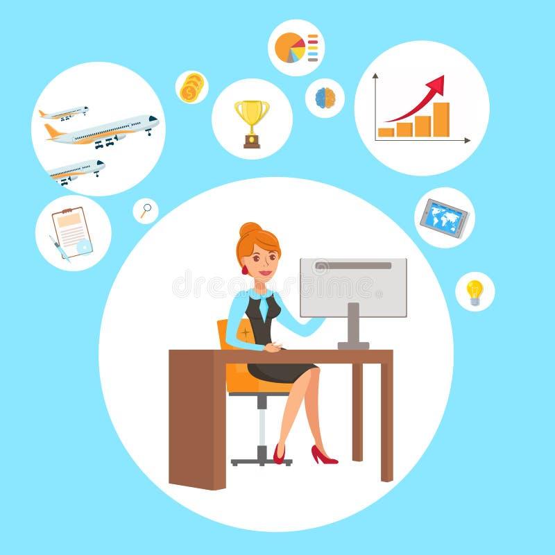 Affärskvinna illustration för personlig assistent stock illustrationer
