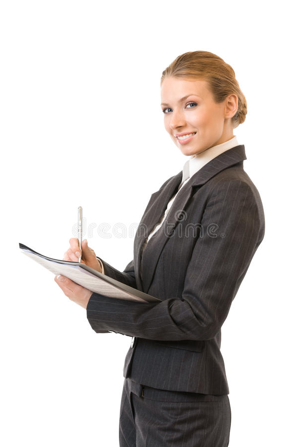 affärskvinna isolerad writing arkivbilder