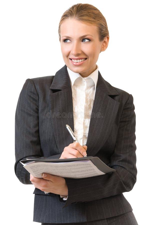 affärskvinna isolerad writing royaltyfri foto