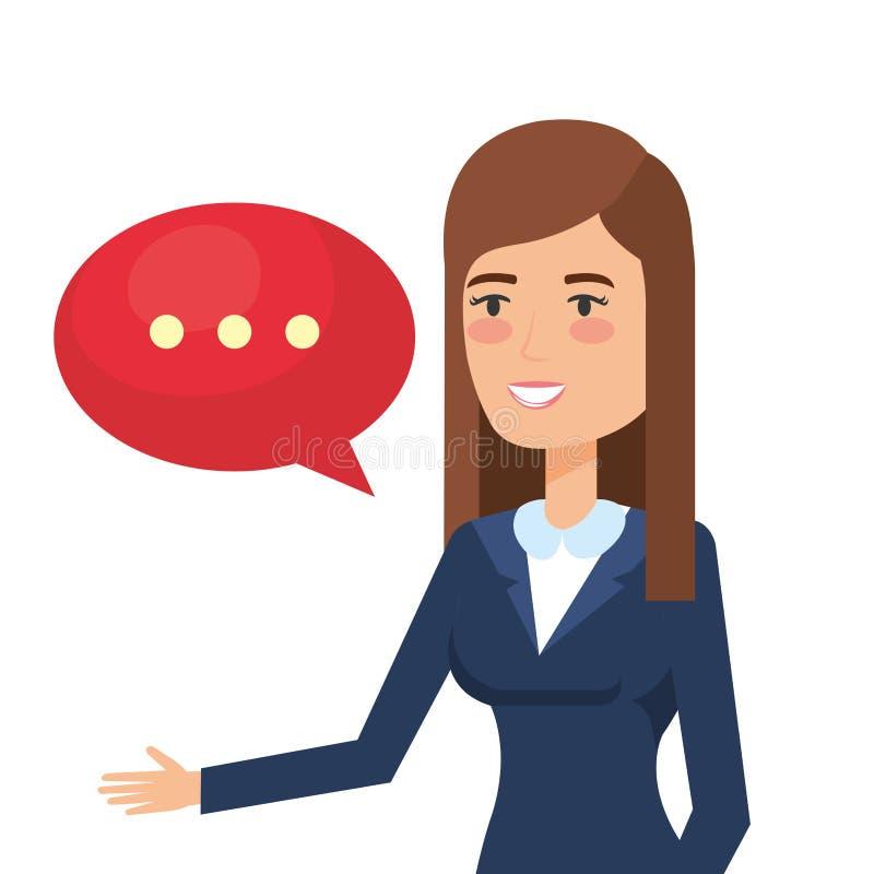 Affärskvinna med anförandebubblan royaltyfri illustrationer