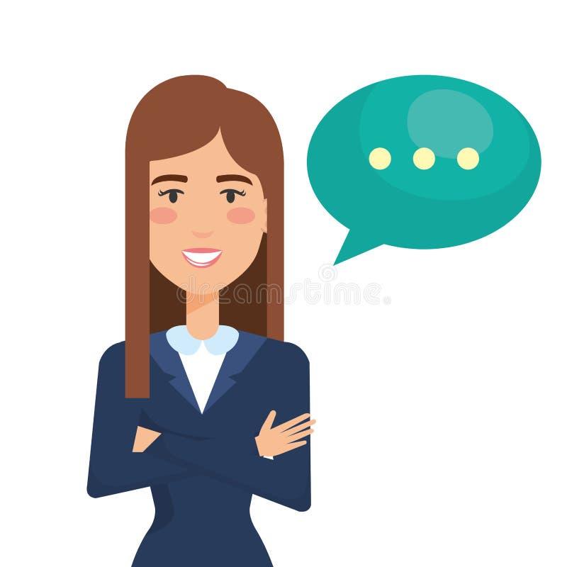 Affärskvinna med anförandebubblan vektor illustrationer