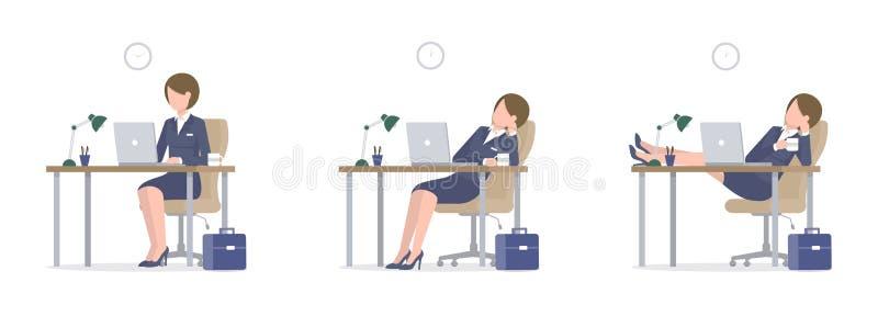 Affärskvinna med bärbara datorn på skrivbordben på den stora uppsättningen för tabell royaltyfri illustrationer