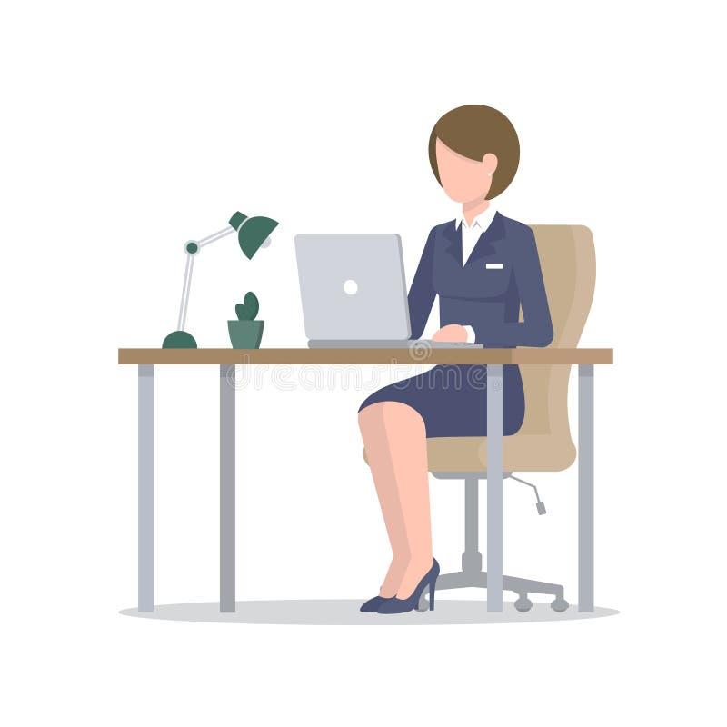 Affärskvinna med bärbara datorn på skrivbordet stock illustrationer