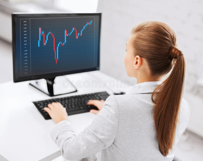Affärskvinna med dator- och forexdiagrammet royaltyfria foton