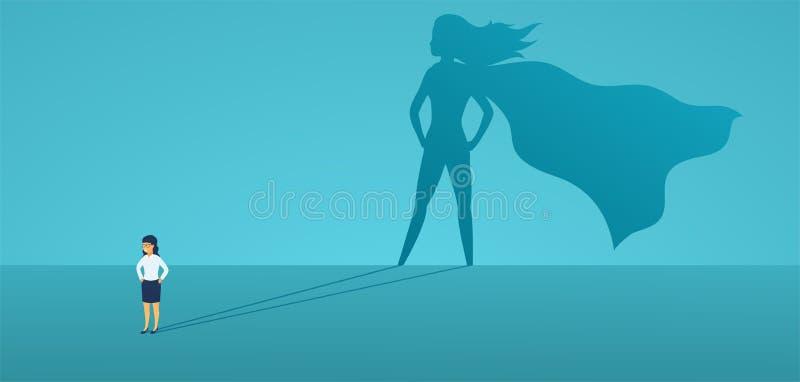 Affärskvinna med den stora skuggasuperheroen Toppen chefledare i affär Begrepp av framgång, kvalitet av ledarskap stock illustrationer