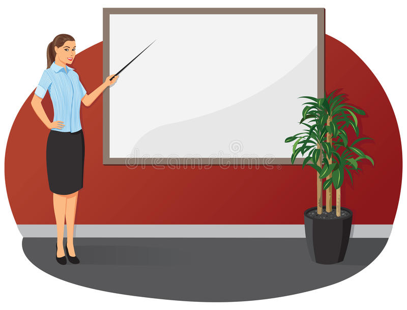 Affärskvinna med en pekarepinne vektor illustrationer