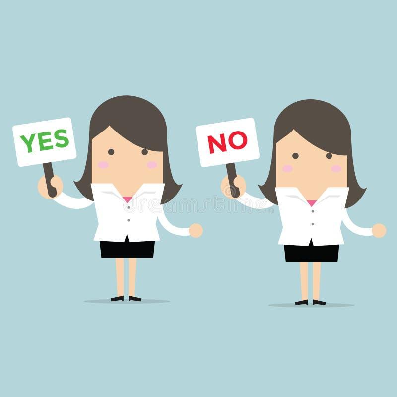 Affärskvinna med ett tecken ja och inte royaltyfri illustrationer