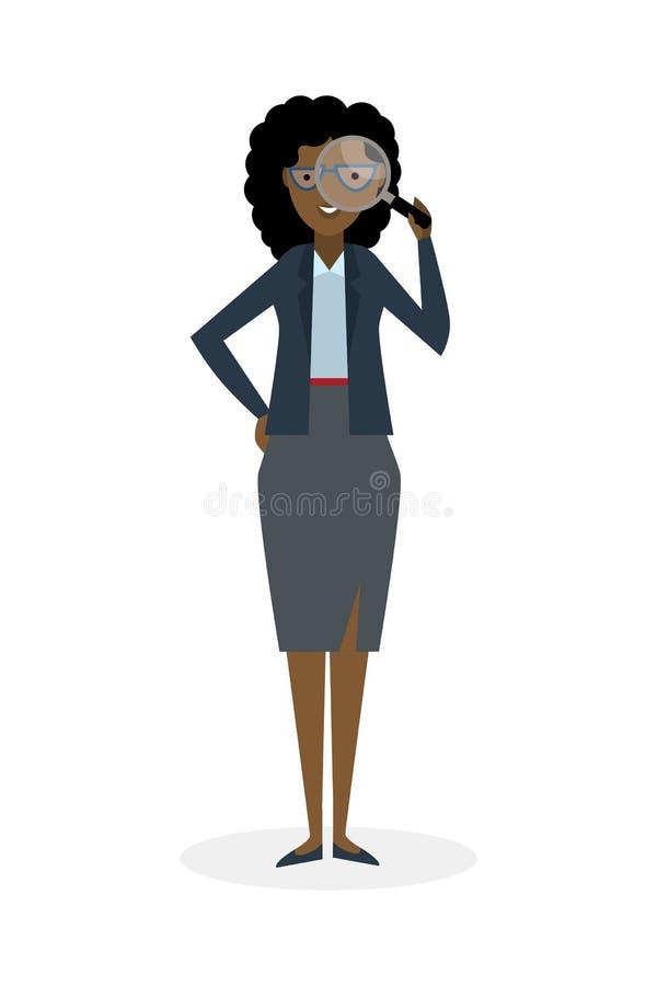 Affärskvinna med förstoringsapparaten royaltyfri illustrationer
