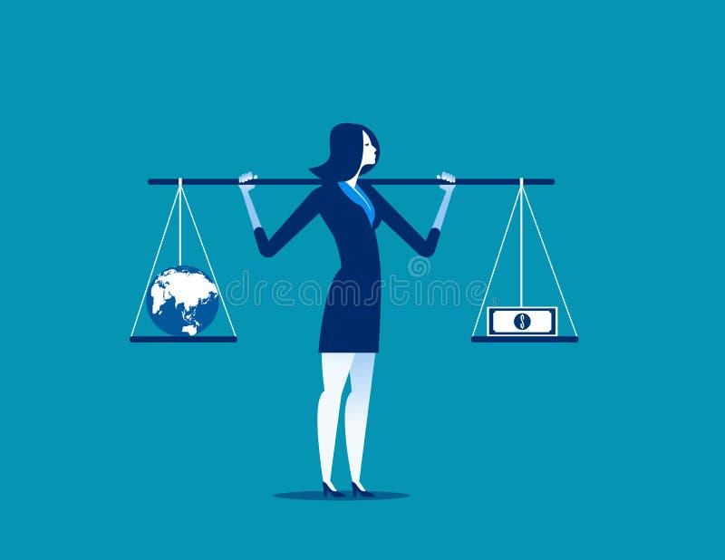 Affärskvinna med jordklotet och sedel i jämvikt eller obalans C royaltyfri illustrationer