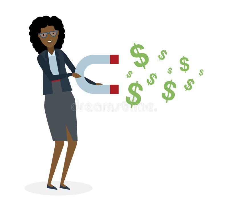 Affärskvinna med magneten royaltyfri illustrationer