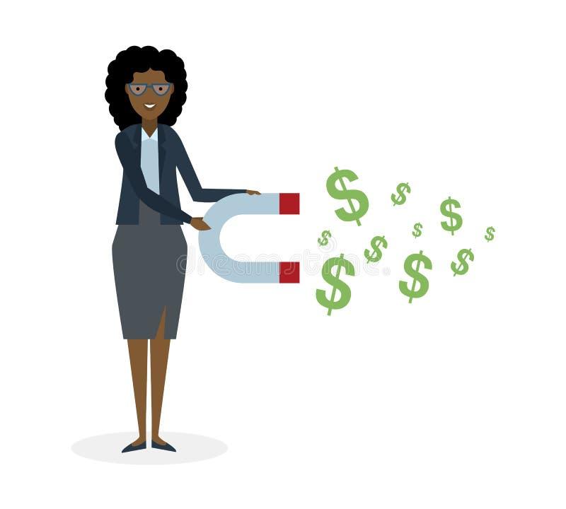 Affärskvinna med magneten stock illustrationer