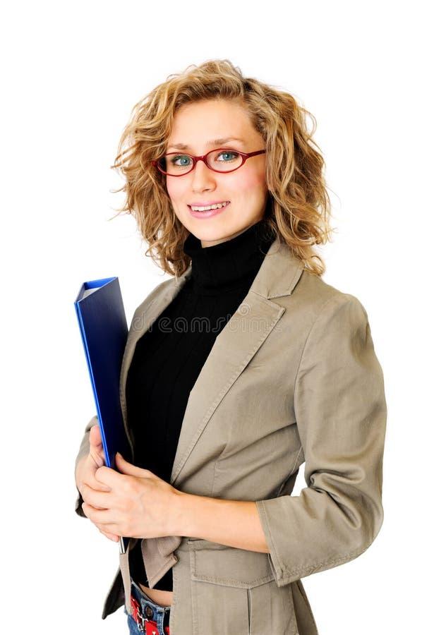 Affärskvinna med mappen royaltyfria bilder