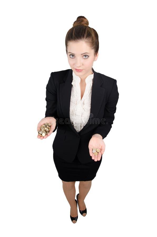 Affärskvinna med pengar i hand arkivfoto